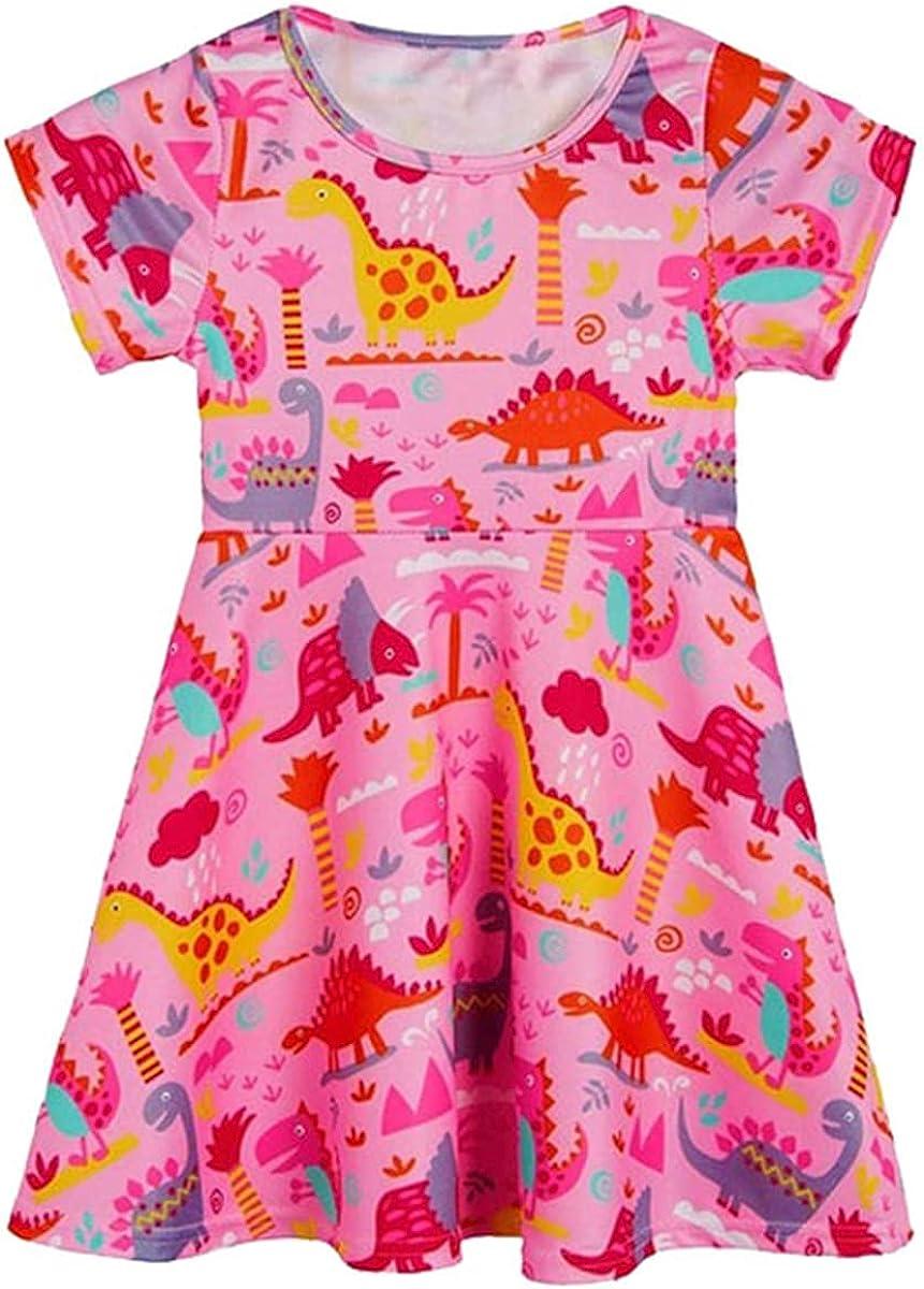 KISSOURBABY Little Girls Dinosaur Dress Short Sleeve Dress Casual Swing Twirl Skirt