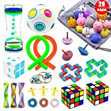 Increase Focus Relieves Stress Bundle Sensory Fidget Toys-Fidget Chain/Ring,Mochi Squishies,Infinity Cube,Liquid Motion Timer,Wacky Tracks Snap ADD ADHD Toy for Kid and Adult