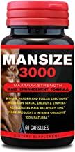 Mansize 3000 Male Enlarger XL Performance Amplification Supplement - Male Testosterone Booster - Natural Stamina, Endurance, Strength Booster Male Growth Pills – Mood Enhancer 60 Veggie Capsules