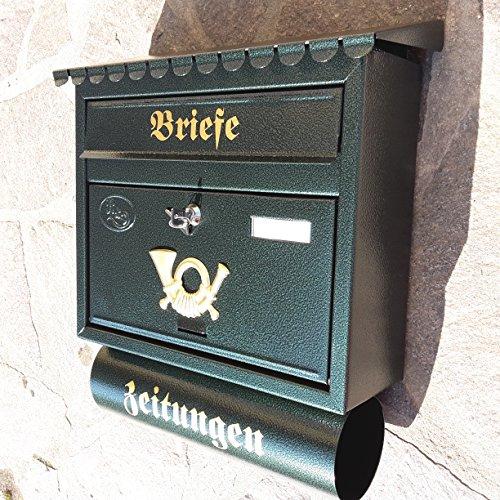 Pachurka & Dąże Großer Briefkasten/Postkasten XXL Din A4 Grün/Dunkelgrün mit Zeitungsrolle Flachdach Katalogeinwurf Zeitungsfach