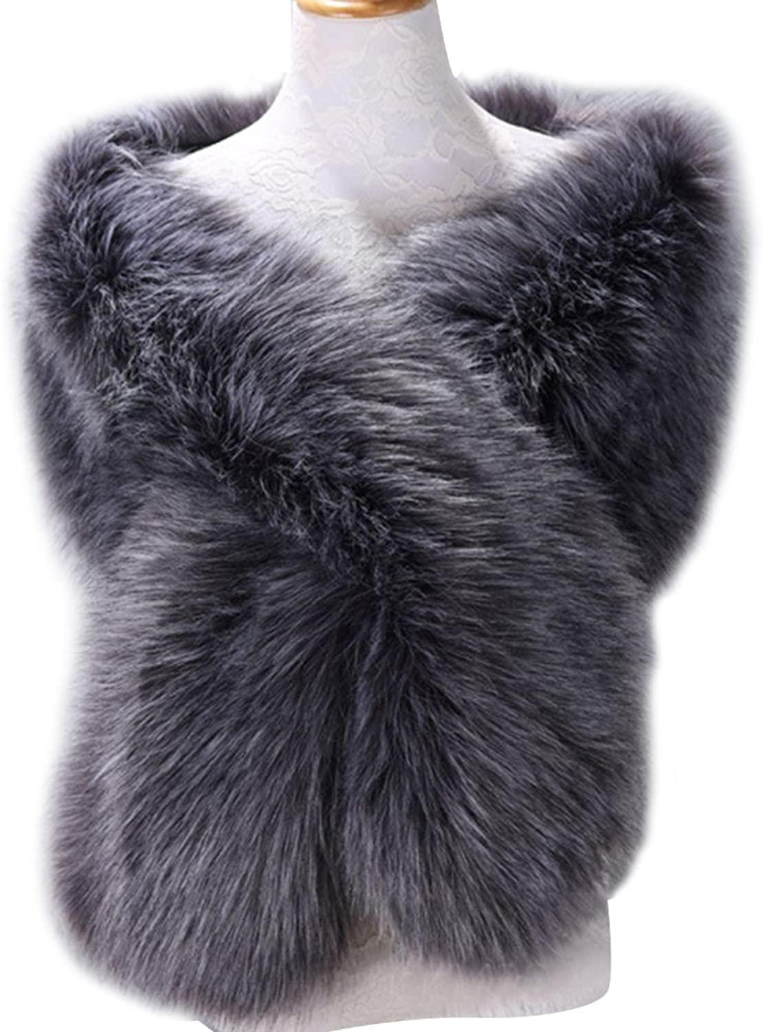 Dikoaina Womens Extra Large Faux Fur Shawl Wrap Stole Cape for Wedding party show