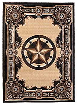 Rugs 4 Less Collection Texas Lone Star State Novelty Area Rug R4L 723 Black  5 X7