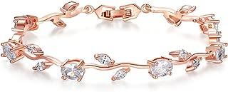 18k Yellow Gold-Plated Sterling Silver Diamond Accent Two-Tone Gemstone Tennis Bracelet Diamond Bangle Bracelet Rose Gold