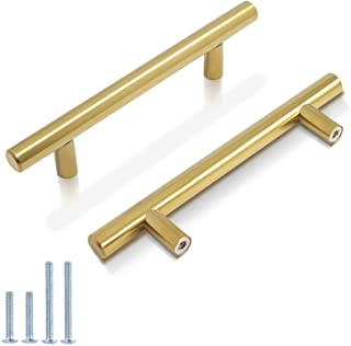 """Sponsored Ad - Probrico (10 Pack) 3-3/4"""" Hole Centers Brushed Brass Cabinet Pulls Euro Kitchen Cabinet Hardware T Bar Dres..."""