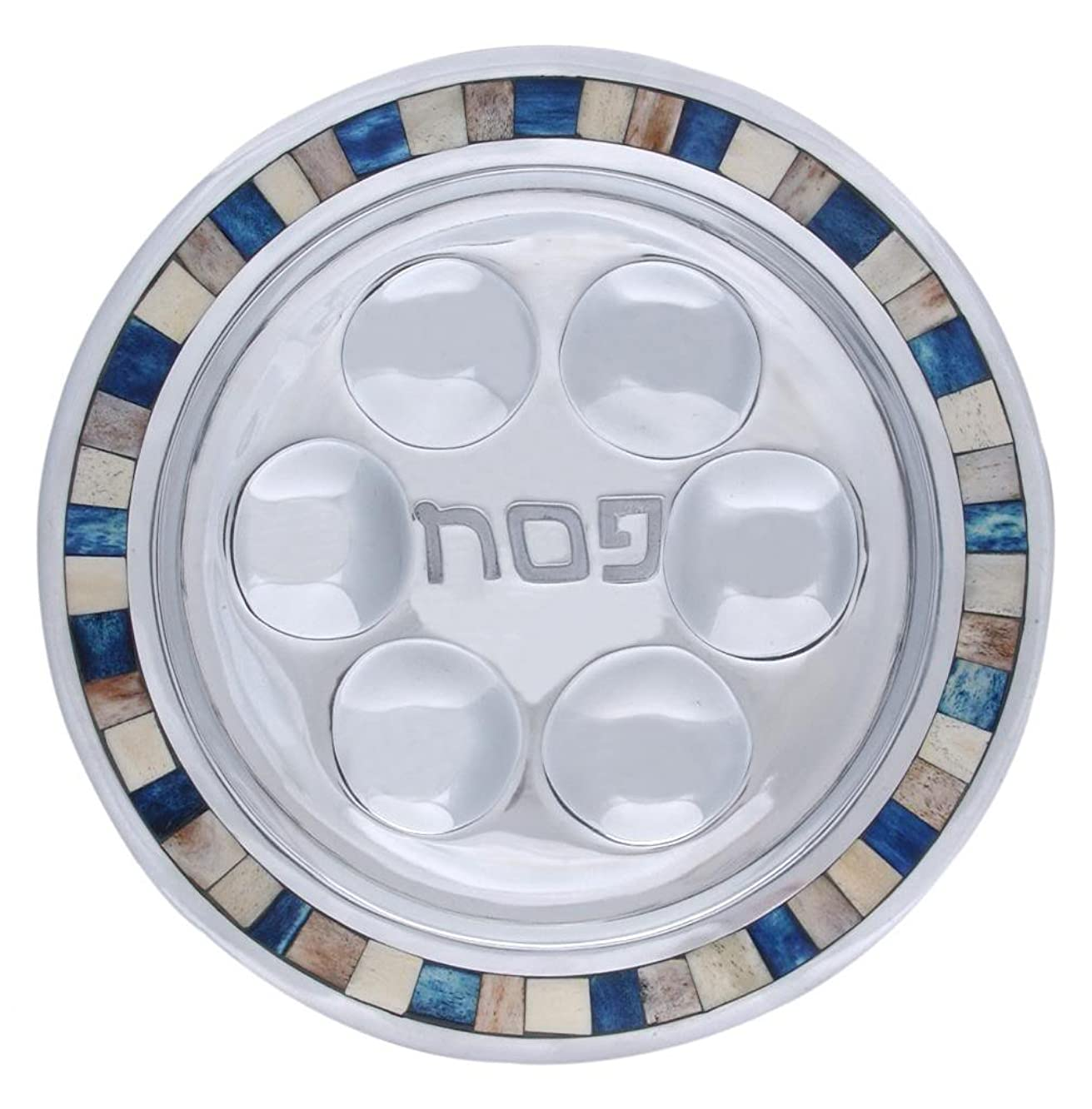 Stainless Steel Round Seder Plate in Blue Square Design
