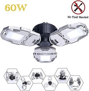 Aqonsie LED Garage Lights Bulb 6000LM Deformable Light 60W E26/E27 Ceiling lamp with 3 Adjustable Panels for Garage Workshop Warehouse Factory Supermarket Basement (Silver)