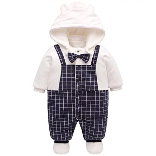f459d047bc9b Baby Rompers with Footies Hat Boys Girls Hooded Jumpsuit Infant Winter  Outfits Set for 0-
