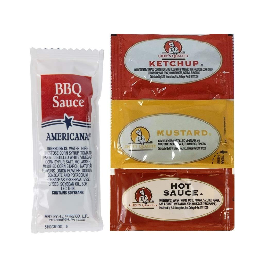 Ketchup Mustard Max 42% OFF Hot Sauce And BBQ Each Of 200 50 Packets Max 68% OFF
