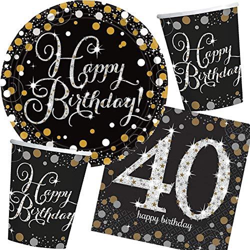 Kit de fête 32 pièces « Sparkling Celebration » pour 40ème anniversaire // Avec assiette, gobelet, serviettes // Kit de fête à motif 40.