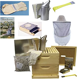 Deluxe Beehive Starter Kit - Premium Bee Hives for Beginners and Pros and All The Beekeeping Supplies You Need, 10 Frames