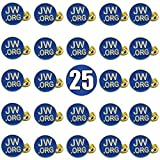 TIHOOD 25PCS Round Blue JW.org Lapel Pin - JW.org Neck Tie Hat Tack Clip Women or Men Suits-Gold Round Jehovah Witness Lapel Pin