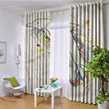 CostomDIY-drapes 3 Layers Weaving Thermal Insulated Curtain Panels for Kids Room, Modern Cute Fish Rainbow Color Design Darkening Curtains, 84