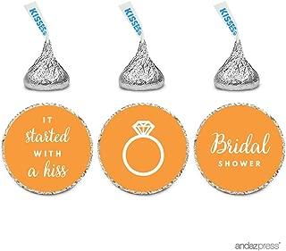 Andaz Press Chocolate Drop Labels Trio, Fits Hershey's Kisses, Wedding Bridal Shower, Orange, 216-Pack