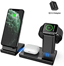 Wireless Charger MANKIW 3 in 1 Fast Charging Station for Apple iWatch AirPods Pro, Wireless Charging Stand Compatible for iPhone 11/11Pro/11Pro Max/XR/Xs/Xs Max/X/8/8Plus Samsung Galaxy(Black)