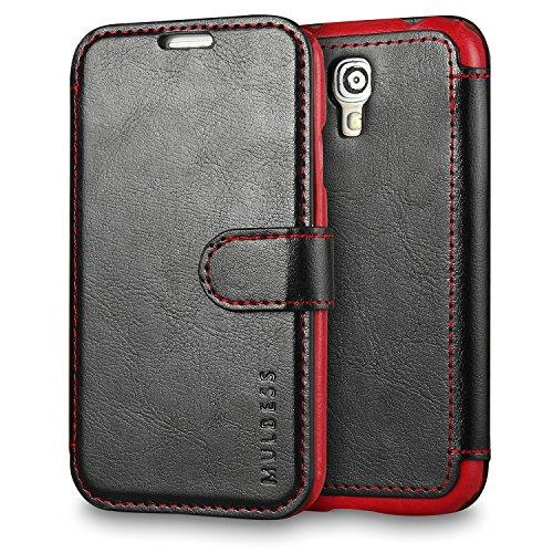 Mulbess Funda Samsung Galaxy S4 [Libro Caso Cubierta] [En Capas de Billetera Cuero] con Tapa Magnética Carcasa para Samsung Galaxy S4 Case, Negro