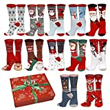 12 Different Designs Holiday X-Mas Socks Christmas Size 9-11 (12 Pair Style 2)