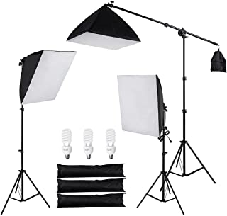 AW 3x 24 Softbox Stand Kit 45W 5500K Day-Light Bulb w/Bag Photo Video Studio Camera Shooting