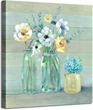 """Flowers in Vase Canvas Painting: Classic Floral Wall Art Abstract Botanical Artwork for Bathroom (20"""" x 20"""" x 1 Panel)"""