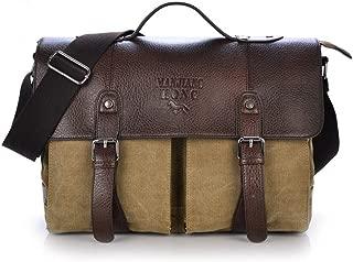 JJJJD Mens Laptop Messenger Bag 14.6 Inch Water Resistant Leather Shoulder Pack Work Computer Briefcase Canvas Vintage Satchel (Color : Khaki)