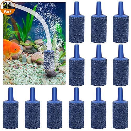 Luftstein für Aquarium 24 Stück Luftausströmer Sauerstoffstein Belüfterstein für Aquarium und Teich,Blau