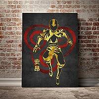 アバター伝説の少年アンポスターキャンバスウォールアートデコレーションプリントリビングキッドチルドレンルームホームベッドルームデコレーションペインティング/ 60x80cm(フレームなし)