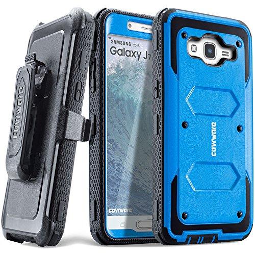 COVRWARE Galaxy J7 (2015)/ J700 [Aegis Series] Built-in [Screen Protector] Heavy Duty Full-Body Rugged Holster Armor Case[Belt Clip][Kickstand](T-Mobile/MetroPCS/Boost Mobile/Virgin), Blue