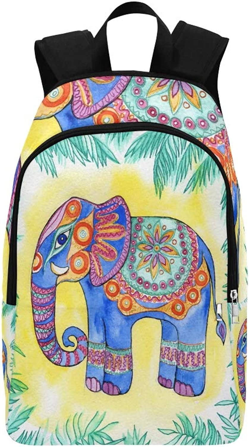 Elephant Animal India Casual Daypack Travel Bag College School Backpack for Mens and Women