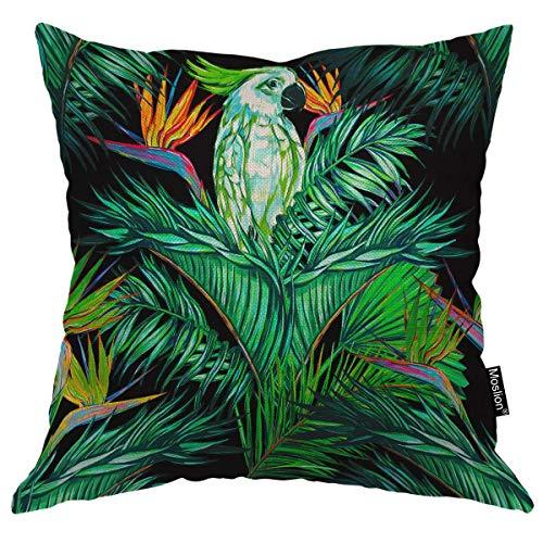 Funda de almohada de loro floral selva tropical hojas de palmera plantas pájaro paraíso flor naturaleza funda de almohada cuadrada funda de cojín para el hogar coche decorativo lino de algodón