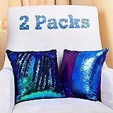 YQing Funda de cojín con lentejuelas de estilo sirena, brillante, 40 x 40 cm, reversible, cambia de color, para sofá de hogar, dormitorio (2 Piezas)