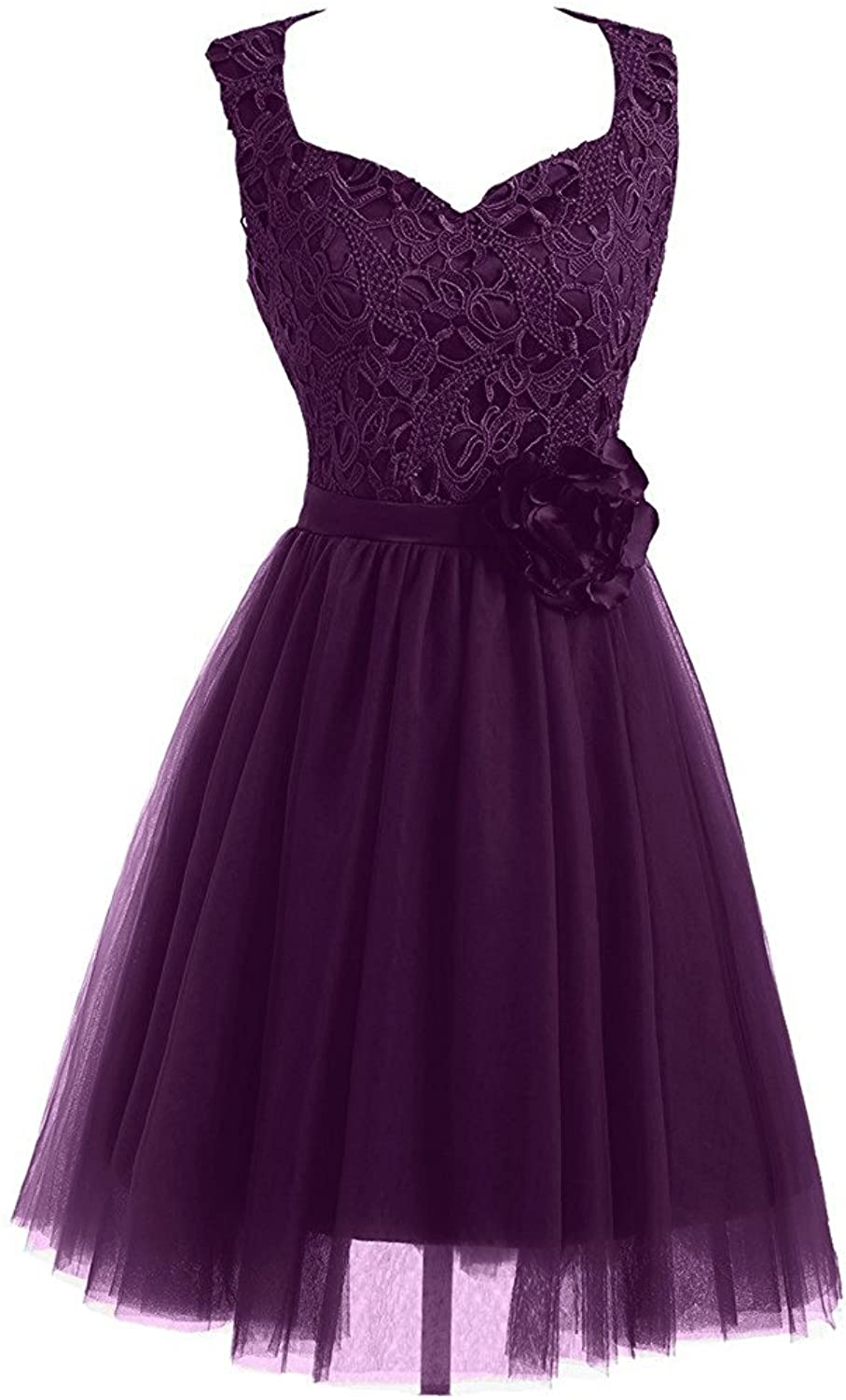 DINGZAN Cute Lace and Tulle Evening Cocktail Prom Homecoming Dreses Short