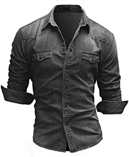 NOBRAND Jinyuan Denim Shirt Men's Cotton Denim Shirt Fashion Spring and Autumn Long-Sleeved Slim Denim Shirt Fashion Washe...