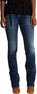 Silver Jeans Co. Women's Suki Curvy Fit Mid Rise Slim Bootcut Jeans with Flap Pockets