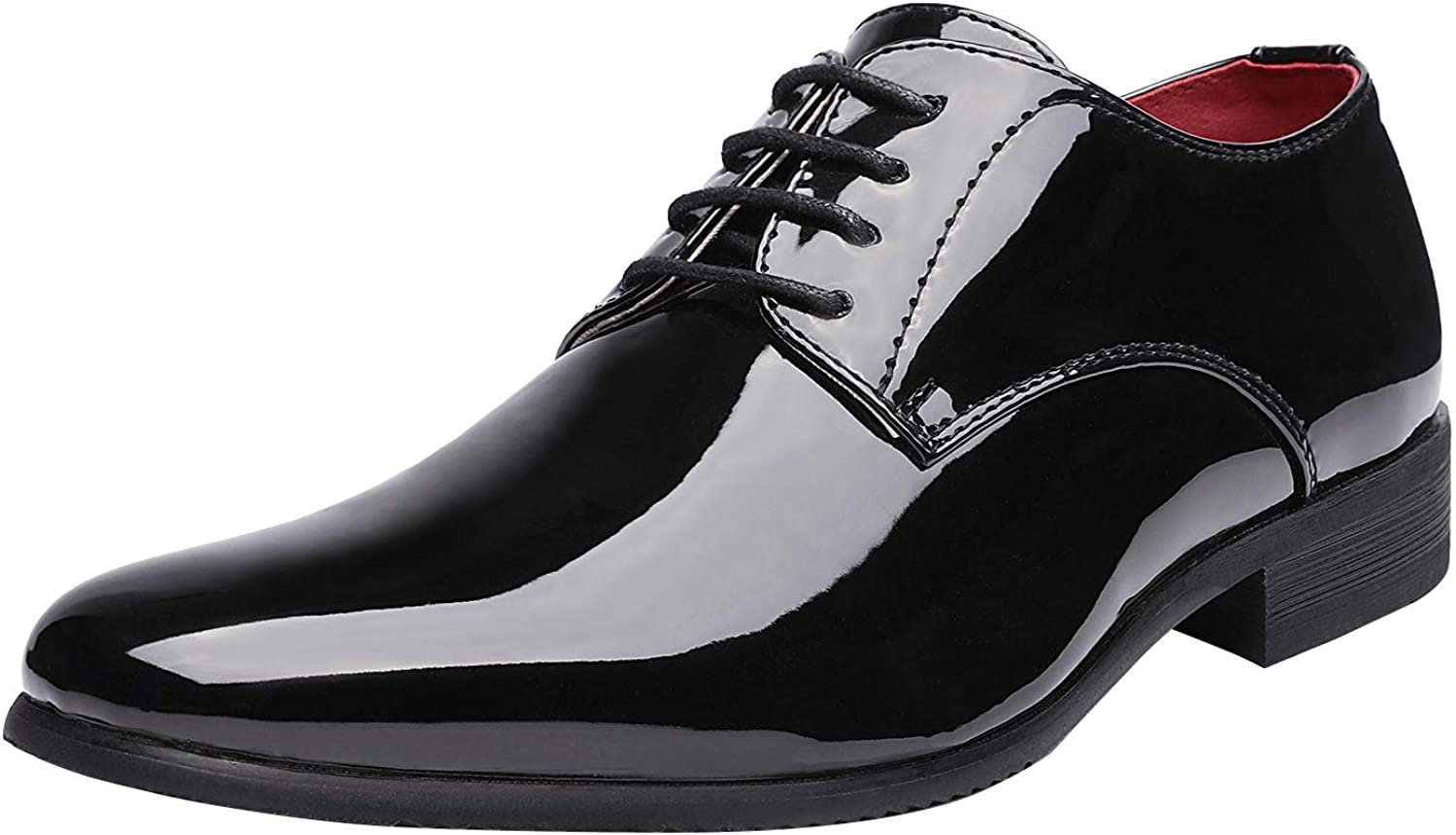 1920s Men's Evening Wear History: Tuxedos to Tailcoats Bruno Marc Mens Faux Patent Leather Tuxedo Dress Shoes Classic Lace-up Formal Oxford  AT vintagedancer.com