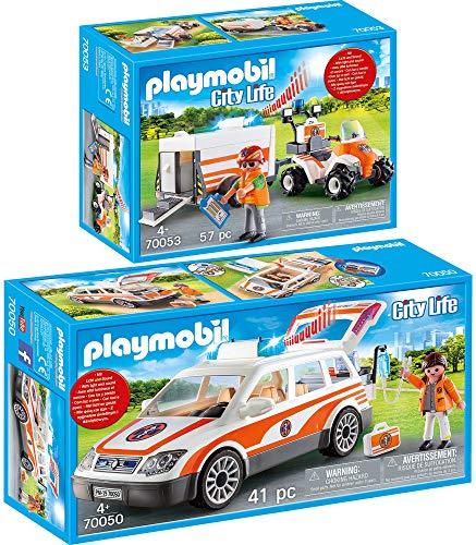 PLAYMOBIL® City Life 2er Set 70050 70053 Notarzt-PKW mit Licht und Sound + Quad mit Rettungsanhänger