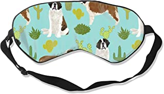 Saint Bernard Dog Breed Pattern Cactus Cacti Silk Sleep Mask Comfortable Blindfold Eye mask Adjustable for Men, Women or Kids