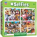 MasterPieces 4-Pack Kids 100 Puzzles Collection - Selfies 4-Pack 100 Piece Jigsaw Puzzle by Masterpieces