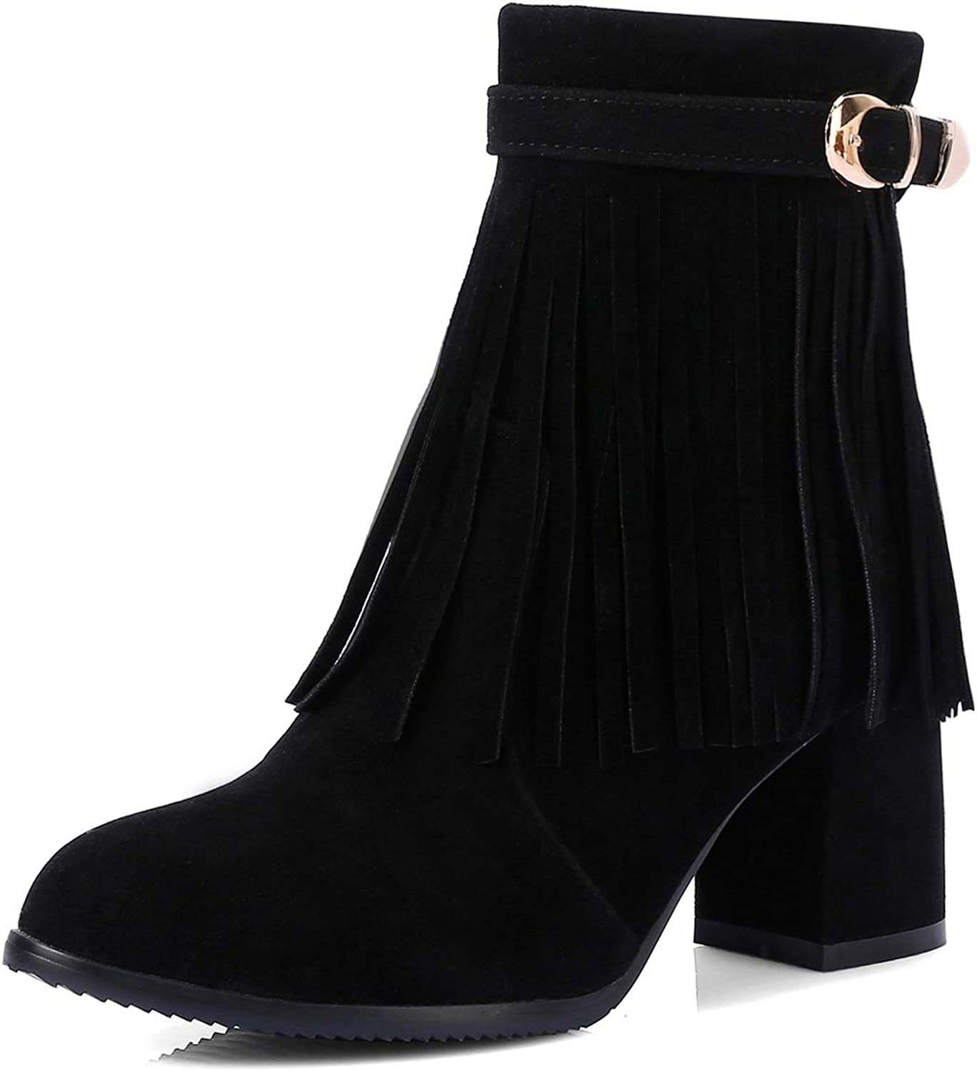 Women's Booties, Fall Winter New Thick Heel High Heel 7cm Fashion Boots Ladies Tassel Martin Boots & Ankle Boots (color   B, Size   36)