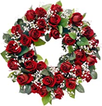 Wreaths For Door Red Rose Wreath with White Babys Breath Classic Timeless Artificial Spring Door Wreath for Winter Summer 19-20 Inch in Diameter