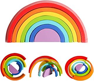 USATDD Wooden Rainbow Stacking Nesting Puzzle Fine Motor Skils STEM Toy Tunnel Blocks Stacker Geometry Building Creative Color Shape Matching Early Learning Gift for Kids Baby Toddlers
