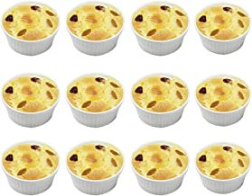 BPFY 12 Pack 7oz White Porcelain Ramekins Bakeware, Ceramic Souffle Dishes, Baking Cups for Custard, Pudding, Creme Brulee...