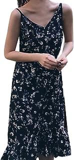 Sexy Dresses for Women,Women Sexy Sleeveless Broken Flowers Printed V-Neck Beach Long Dress