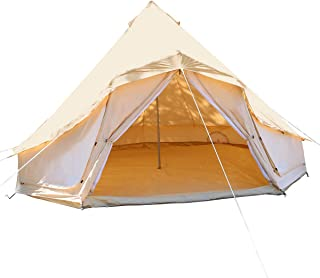 UNISTRENGH Luxury Canvas Cotton Bell Tent Large Waterproof Windproof Yurt Glamping Family Tent with Cable Hole for Camping Hiking Hunting Party Exhibition