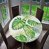 Chickwin Mantel Antimanchas Redondo, Mantel de Mesa Impermeable Diseño de Borde Elástico con Estampado 3D Creativo Mantel Redondo para Comedor, Cocina y Picnic (Monstera,90cm)