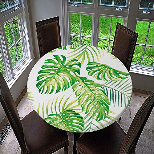 Chickwin Mantel Antimanchas Redondo, Mantel de Mesa Impermeable Diseño de Borde Elástico con Estampado 3D Creativo Mantel Redondo para Comedor, Cocina y Picnic (Monstera,120cm)