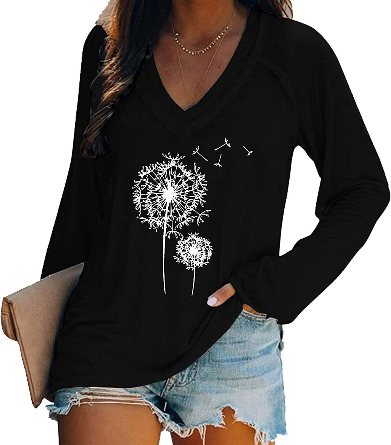 Aiouios Lightweight Sweatshirts for Women Graphic V-Neck Casual Long Sleeve Pullover Solid Color Dandelion Print Blouses