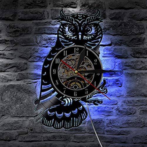 SZG Uhu Vinyl Schallplattenuhr Eule dekorative Wanduhr Nachteule Wandkunst Uhr Kinderzimmer Kinderzimmer Dekor Tiergeschenk für Kinder(Mit LED)