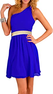 Fg Royal Blue And Gold Chiffon Special Occasion Dress For Women