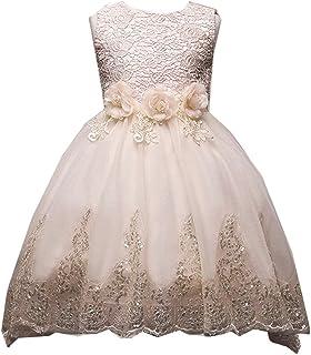 VIKITA Girls Sleeveless Tulle Dresses Flower Girl Dress C0180 Beige,120