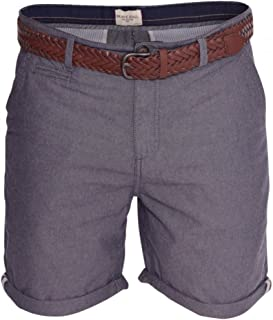 BRAVE SOUL Mens Shorts Plain Cotton Smart Casual Summer Holiday Short- Free Weave Belt