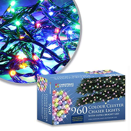 The Christmas Workshop 78460 960 Multi-Coloured LED Chaser Cluster Christmas Lights | Indoor and Outdoor Fairy Lights | 13.9 Metres | 8 Light Modes | Christmas, Weddings & Gardens